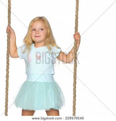 Beautiful Little Girl Swinging On A Swing. The Concept Of Family Happiness, Summer Holidays. Isolate