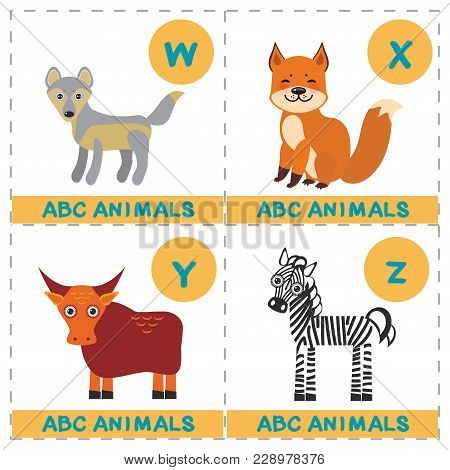 Abc Alphabet For Kids. Set Of Funny Wolf Yak Fox Zebra Cartoon Animals Character. Cards For The Game