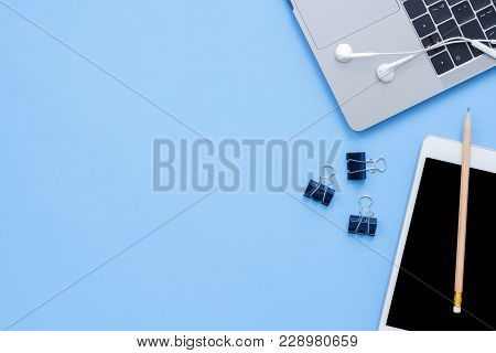 Office Desk Working Space - Flat Lay Top View Mockup Photo Of A Working Space With Laptop, Earphone