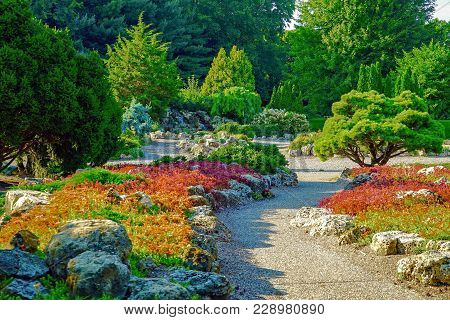Colorful Japanese Garden Near Lake Harriet In Minneapolis, Minnesota