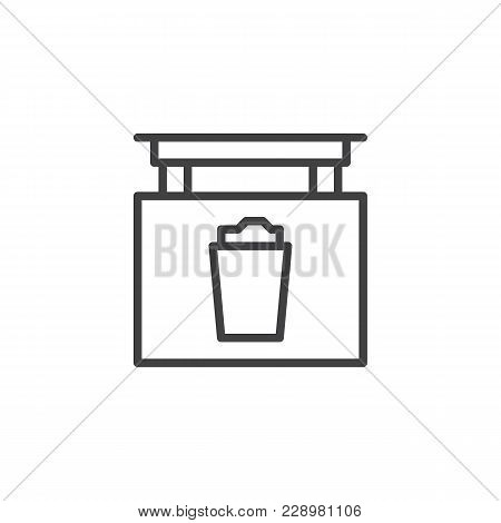 Signboard With Beer Glass Outline Icon. Linear Style Sign For Mobile Concept And Web Design. Pub Sig
