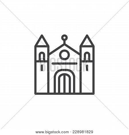 Cathedral Building Outline Icon. Linear Style Sign For Mobile Concept And Web Design. Christian Chur