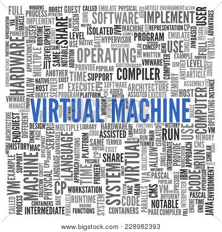 Virtual Machine word cloud concept with central large blue text surrounded by multiple related keywords