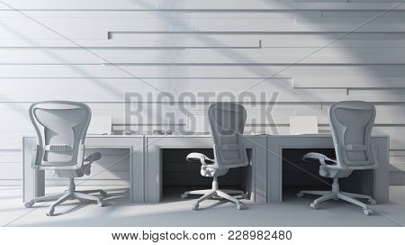 Three chairs standing by empty bright workstation. 3d Rendering.