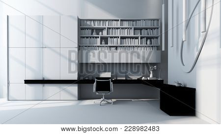 Monochromatic luxury white office with built in desk bookcase unit and swivel chair in a spacious room. 3d Rendering