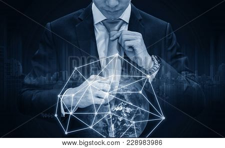 Double Exposure, Businessman Holding Necktie With Global Network Connection, Global Business And Bus