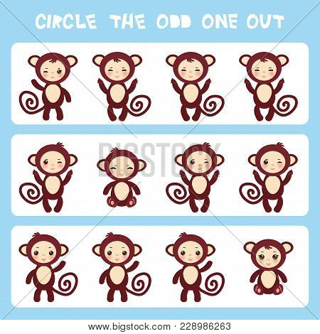 Visual Logic Puzzle Circle The Odd One Out. Kawaii Brown Monkey With Pink Cheeks And Winking Eyes, P
