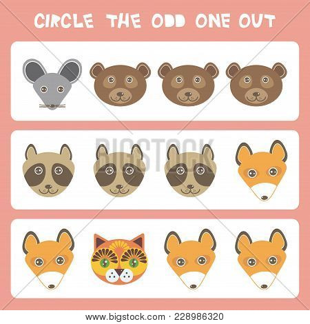 Visual Logic Puzzle Circle The Odd One Out. Kawaii Animals Mouse Bear Raccoon Fox Cat, Pastel Colors