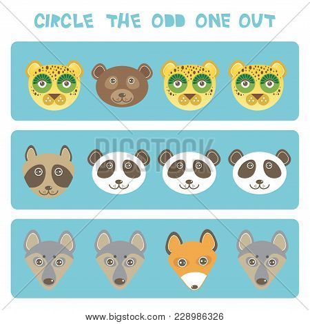 Visual Logic Puzzle Circle The Odd One Out. Kawaii Animals Fox Raccoon Panda Bear Wolf Dog Leopard,