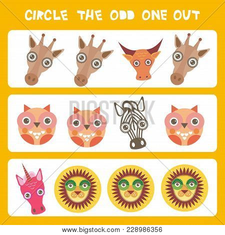 Visual Logic Puzzle Circle The Odd One Out. Kawaii Animals Cow Zebra Lion Unicorn Giraffe Owl, Paste