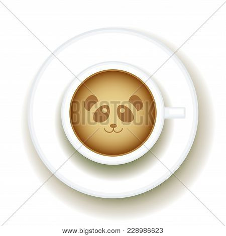 Panda Coffee Latte Art Animal, Top View Shape Foam Art Of A Cappuccino Cup With Saucer On White Tabl