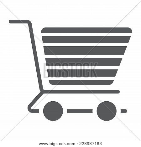 Shopping Cart Glyph Icon, E Commerce And Store, Food Retail Sign Vector Graphics, A Solid Pattern On