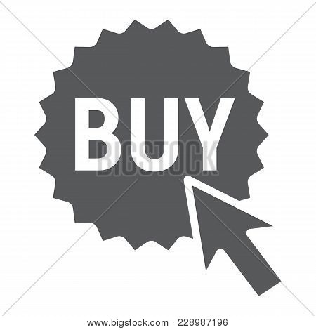 Buy Now Button Glyph Icon, E Commerce And Marketing, Shop Sign Vector Graphics, A Solid Pattern On A