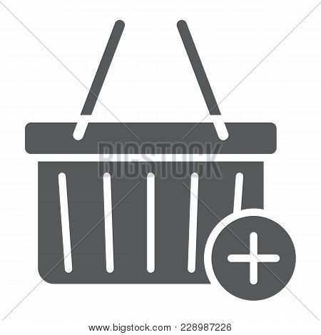 Add To Cart Glyph Icon, E Commerce And Marketing, Retail Box Sign Vector Graphics, A Solid Pattern O
