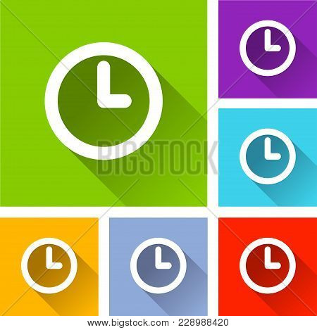 Illustration Of Time Icons With Long Shadow