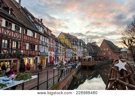 View From A Bridge Of The Petite Venise Part Of Colmar With Beautiful And Typical Architecture. Duri