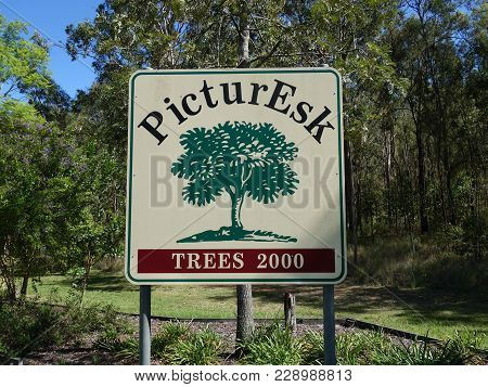 Esk, Queensland, Australia:  February 9, 2018:  The Entry Sign Board Into Esk Using A Play On Words