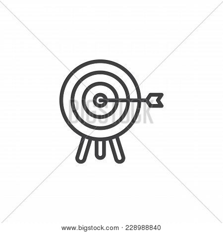 Target With Arrow Outline Icon. Linear Style Sign For Mobile Concept And Web Design. Archery Aiming