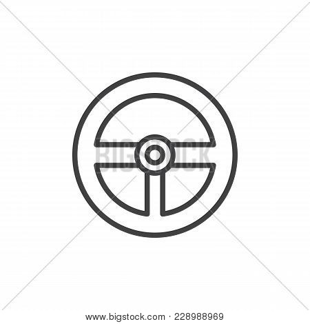 Steering Wheel Outline Icon. Linear Style Sign For Mobile Concept And Web Design. Game Controller Si