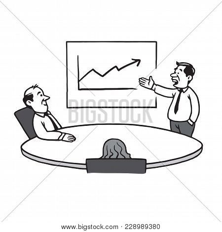Business Meeting Strategy. Cartoon Vector Illustration Drawing