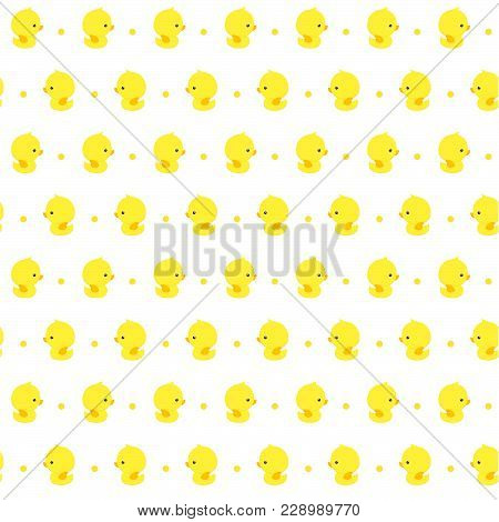 Seamless Pattern With Cute Baby Rubber Ducks On White Background, Design For Baby And Child, Can Be