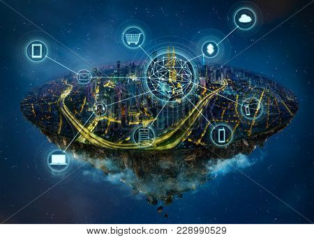 Fantasy Island Floating In The Air With Smart City And Wireless Communication Network , Smart City A