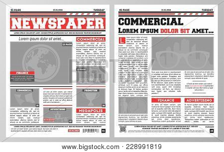 Design Of Daily Newspaper Template With Two Pages Opened And Showing Articles With Headlines.