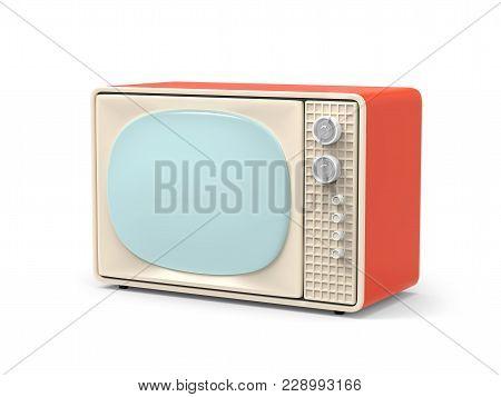 Vintage Television - Old Tv Isolate On White. 3d Illustration