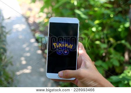 Krasnodar, Russia - On  July 26,2016:  Pokemon Go Is A Location-based Augmented Reality Mobile Game.
