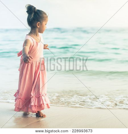 Beautiful Little Girl At The Beach. Sunblock Cream For Children. Healthcare For Your Baby, Skincare,