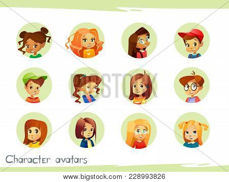 Children Characters Avatars Vector Illustration For Social Network Chat User Profile Or Blog Account