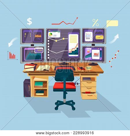 Vector Cartoon Trader, Financial, Data Analyst Office Workplace Background Template. Graphs Diagram