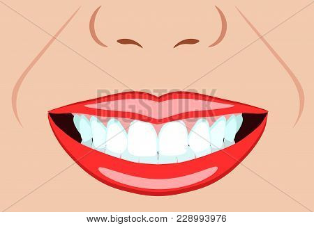 Vector Face Of Girl And Smile With Ideal Teeth For Dental And Stomatological Illustrations