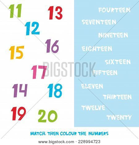Match Then Colour The Numbers 11 To 20. Kids Words Learning Game, Worksheets With Simple Colorful Gr