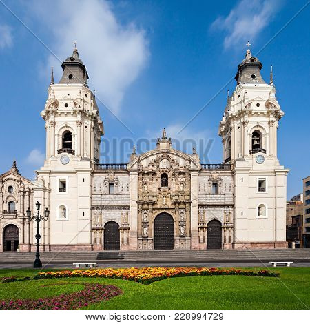 The Basilica Cathedral Of Lima Is A Roman Catholic Cathedral Located In The Plaza Mayor In Lima, Per