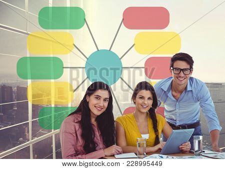 Digital composite of Group of casual business people with tablet against colorful chart and 3 d skyscraper