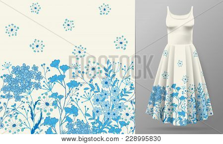 Cute Pattern In Small Simple Flowers. Seamless Background And Seamless Border. An Example Of The Pat