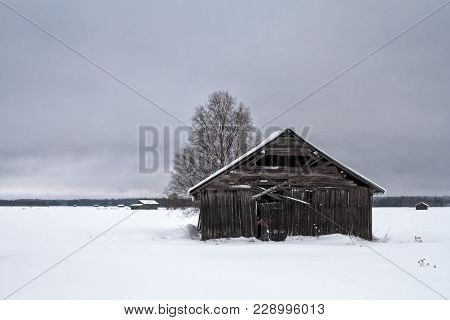 A Grey Day On The Winter Fields Of The Northern Finland. Old Barn Houses Stand Out On The White Fiel