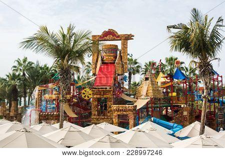 Dubai, United Arab Emirates - February 24, 2018: Children Area In The Atlantis Water Park On The Pal