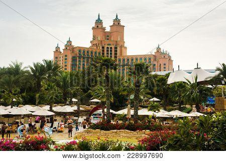 Dubai, United Arab Emirates - February 24, 2018: Atlantis Hotel On The Palm Jumeirah Island, View Fr