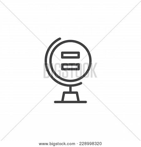 Globe With Equality Sign Outline Icon. Linear Style Sign For Mobile Concept And Web Design. Gender E