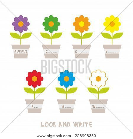 Look And Write. Flowers In Pots. Kids Words Learning Game, Worksheets With Simple Colorful Graphics