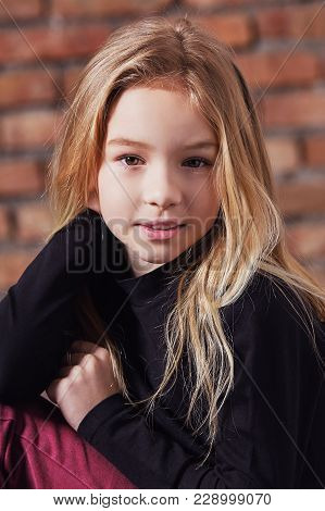 Closeup Portrait Fashion Kid Girl.closeup Portrait Fashion Kid Girl. Stylish Young Model Child Blond