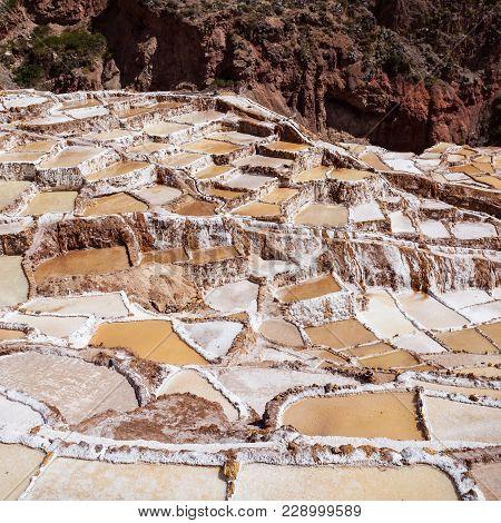 Salinas De Maras, Pre Inca Traditional Salt Mine In Peru