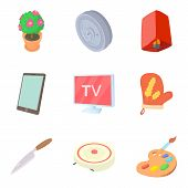 Dwelling icons set. Cartoon set of 9 dwelling vector icons for web isolated on white background poster