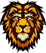 Graphic Mascot Image of a Lion Head with Mane poster