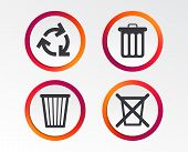 Recycle bin icons. Reuse or reduce symbols. Trash can and recycling signs. Infographic design buttons. Circle templates. Vector poster