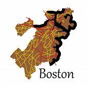 Map of Boston City flat Illustration cartography poster