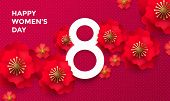 Happy International Women's Day 8 March papercut illustration banner or card. Vector Womens Day background with red 3d paper cut out flowers and number Eight on pink red background. Origami template poster