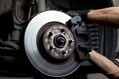 Closeup of car mechanic repairing brake pads poster